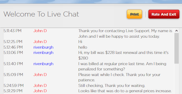 Live chat renewal pricing increase
