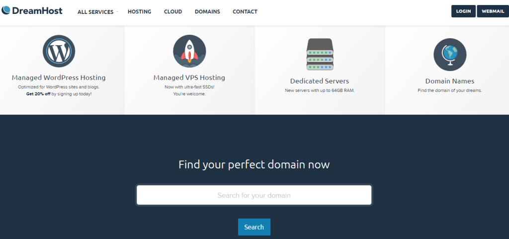 Dreamhost review: Their homepage