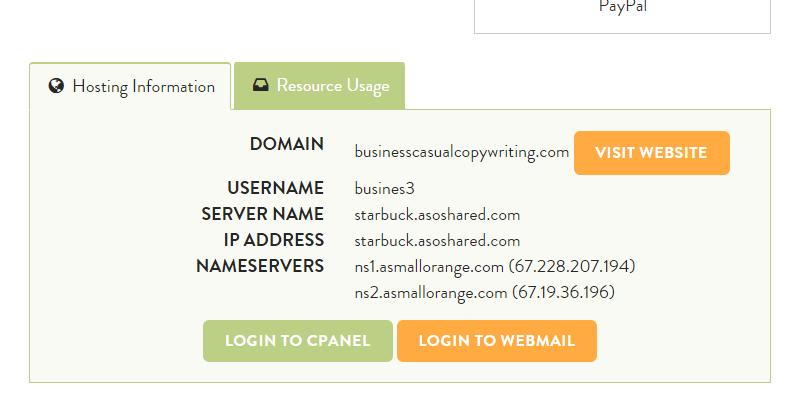 hosting information