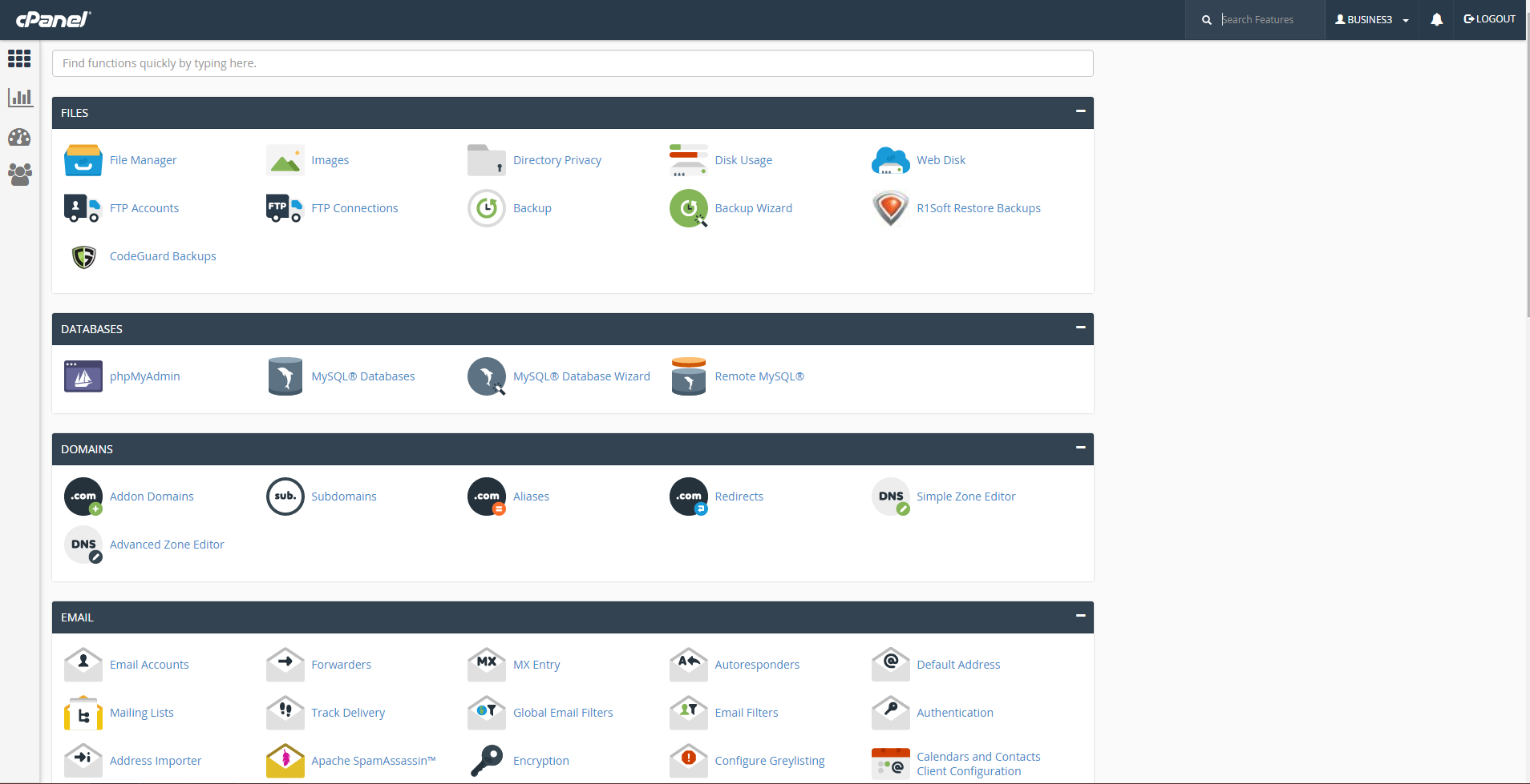 cPanel homescreen