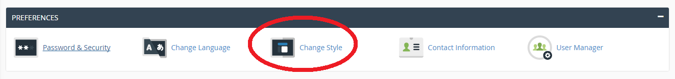 cPanel change style