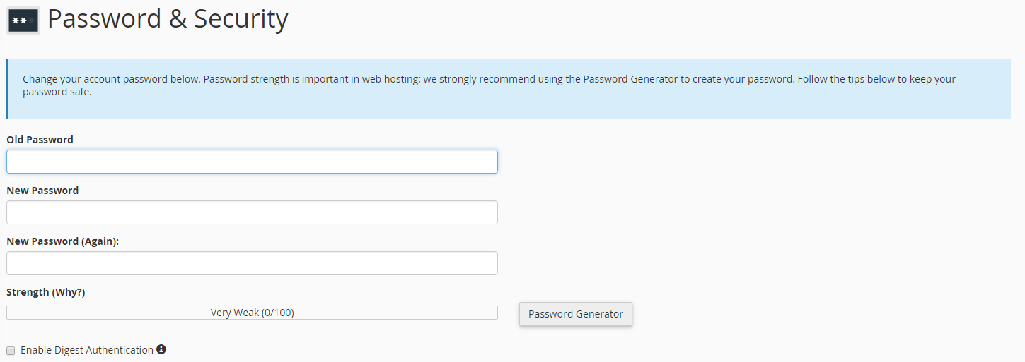 cPanel password & security