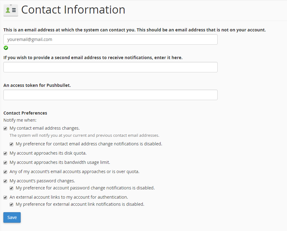 cPanel contact information