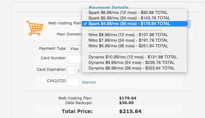 Web Hosting Hub Pricing Details
