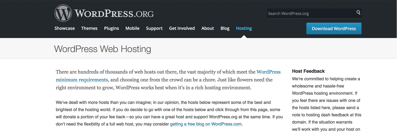 official WordPress hosts