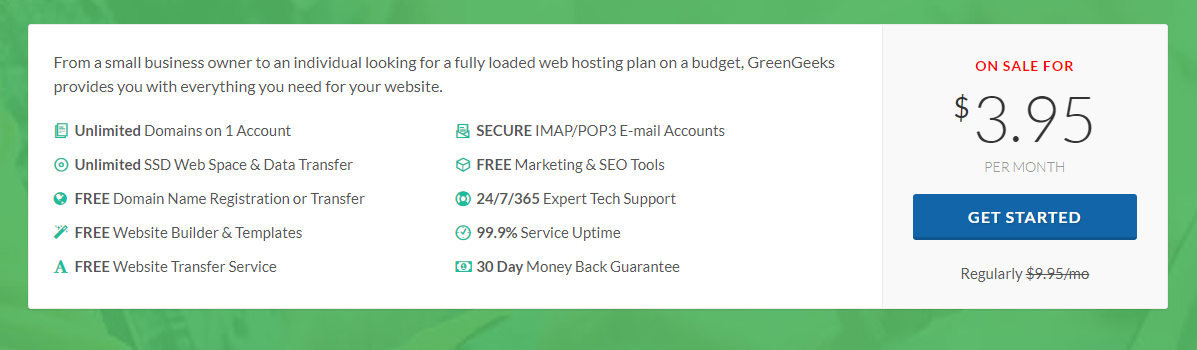 greengeeks web hosting price