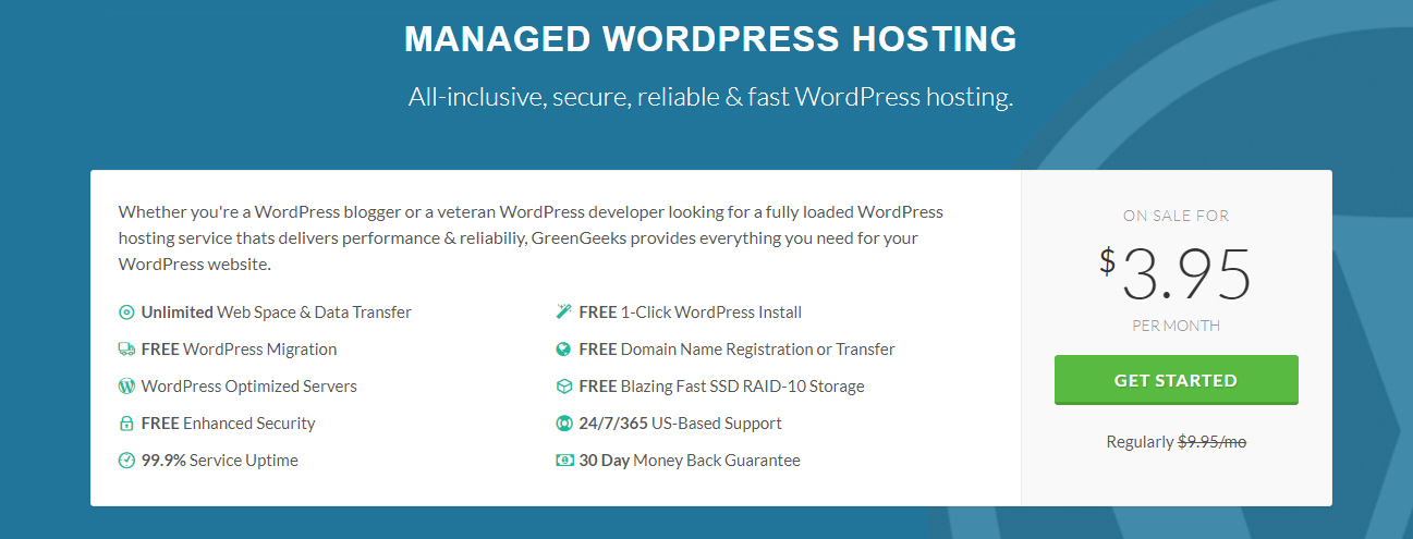 greengeeks wordpress hosting pricing