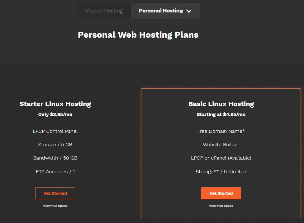 Lunarpages hosting plans