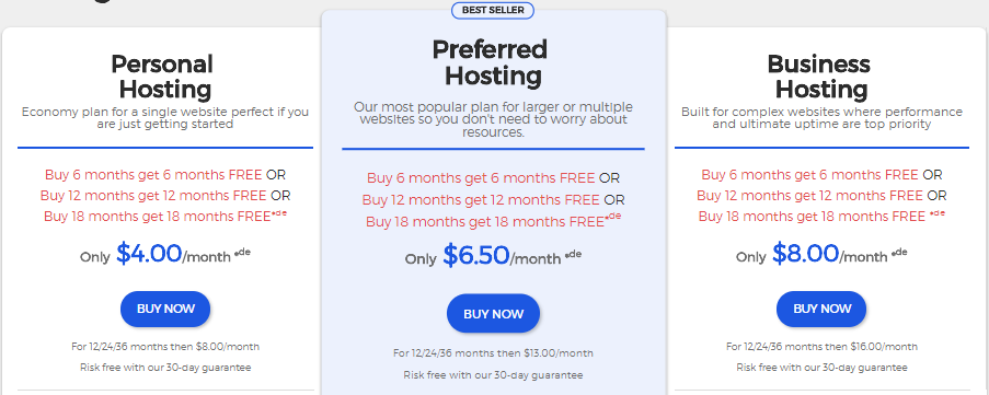 WestHost pricing plans