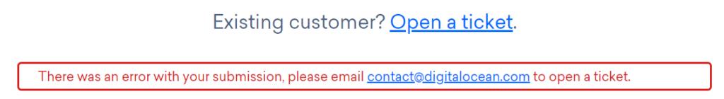 DigitalOcean support ticket error message