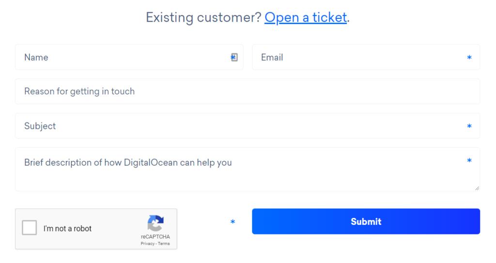 DigitalOcean support ticket