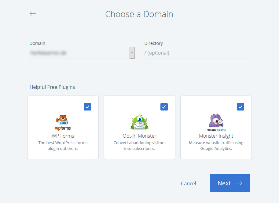 bluehost select domain