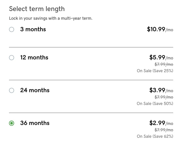 GoDaddy Hosting Term Length Pricing