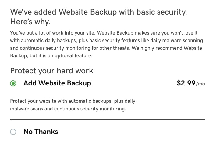 GoDaddy Hosting Website Backup Pricing