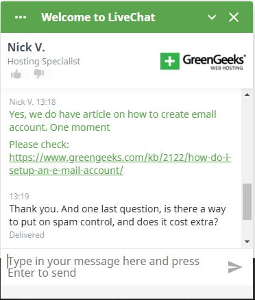 GreenGeeks support