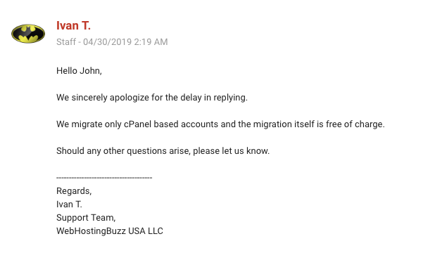 WebHostingBuzz Customer Support Email Reply