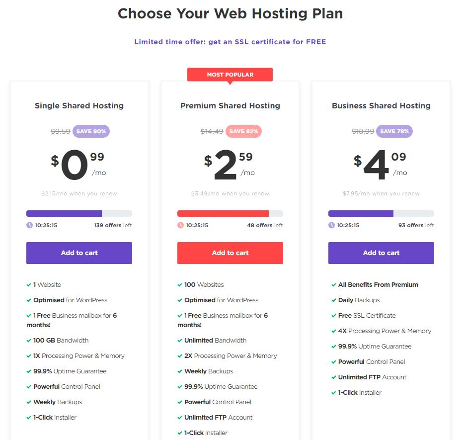 Hostinger pricing and plans