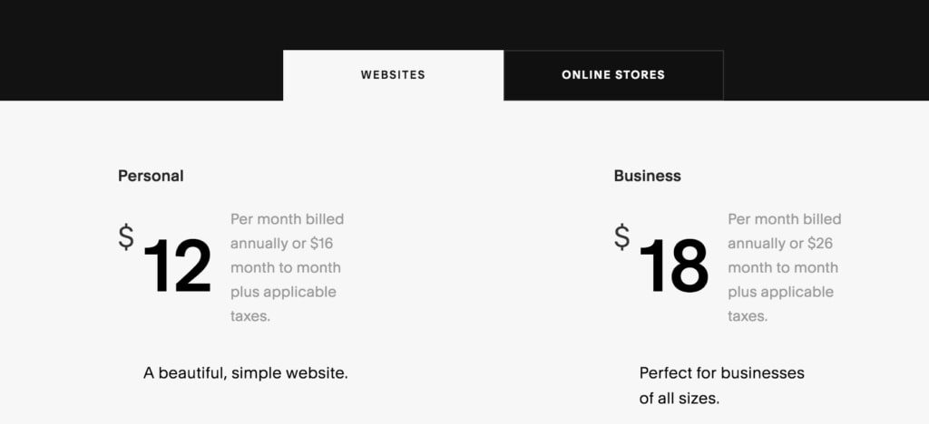 squarespace plans and pricing