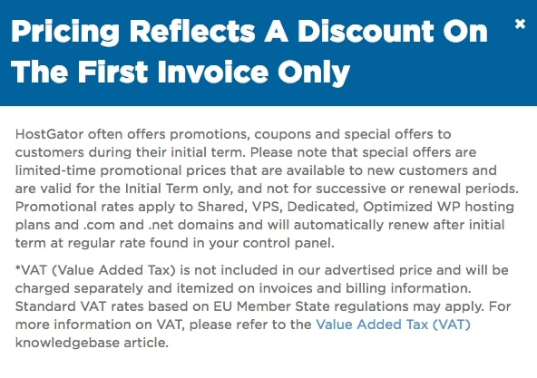 HostGator pricing disclaimer