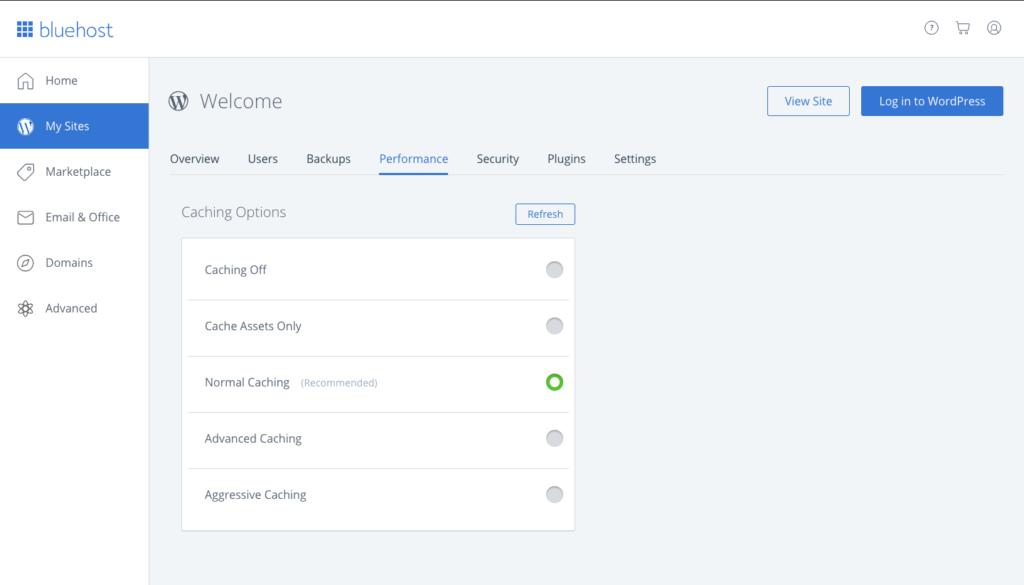 Bluehost Managed WordPress Hosting Performance Dashboard