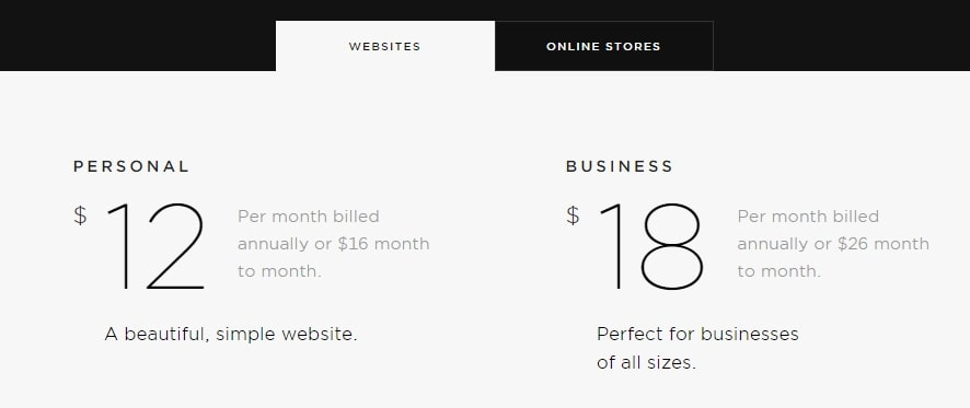 Squarespace website pricing