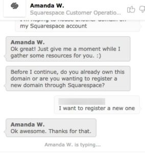 Squarespace customer support chat