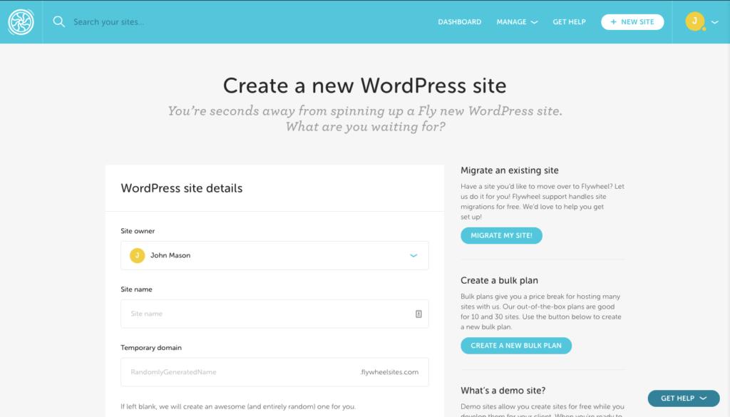 Flywheel New WordPress Site Creation in Admin Panel