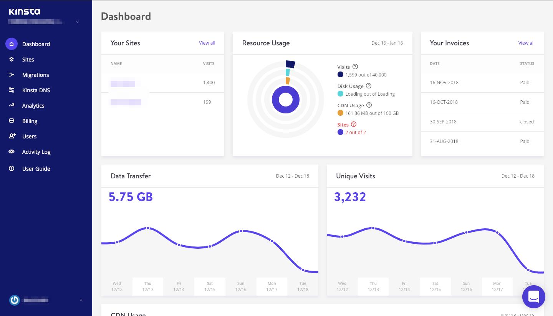Kinsta Admin Panel Dashboard