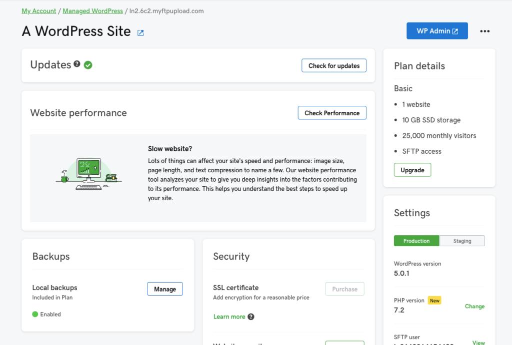 GoDaddy Managed WordPress Hosting Admin Dashboard