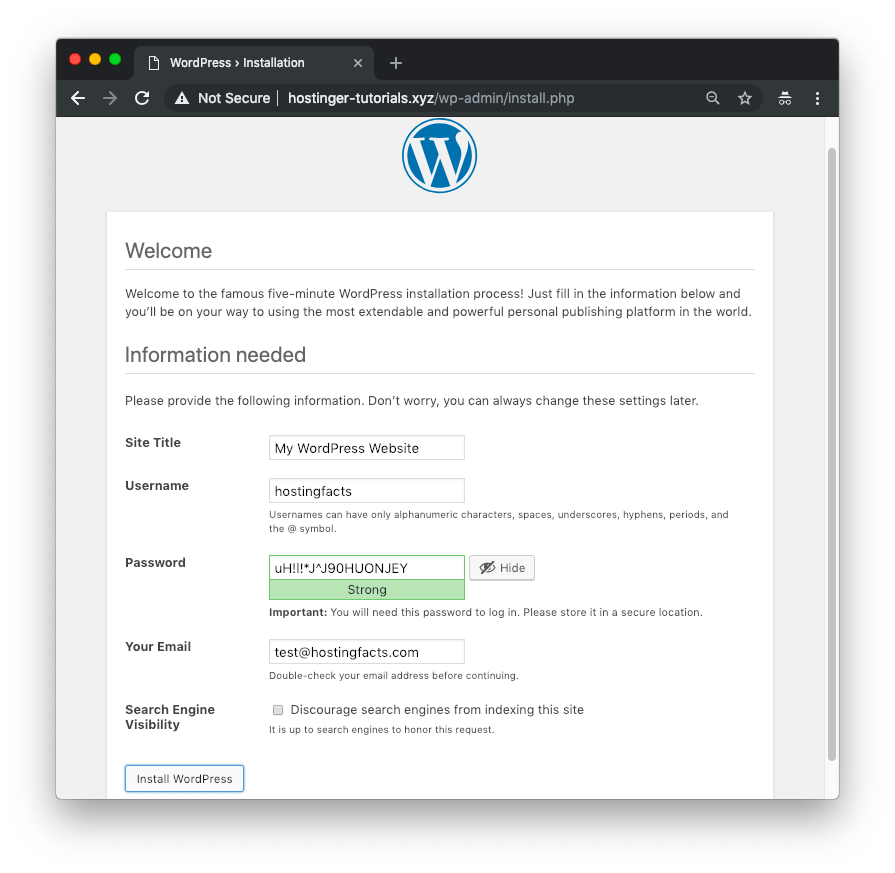 initial WordPress setup