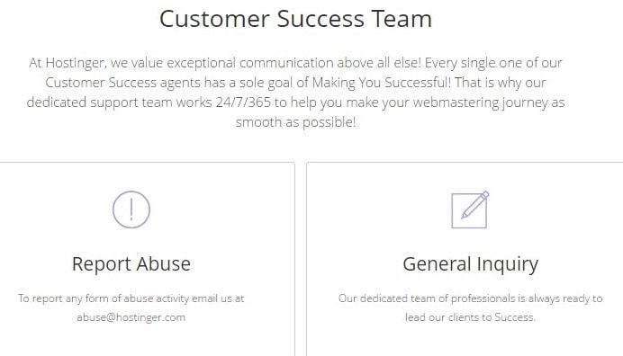 Hostinger customer support page