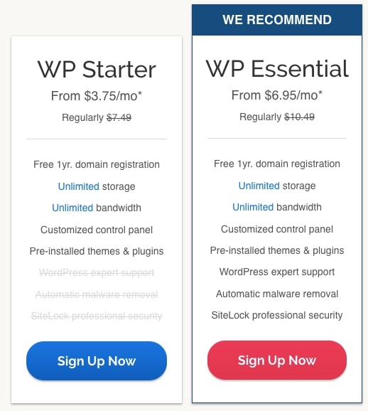 iPage WordPress Pricing