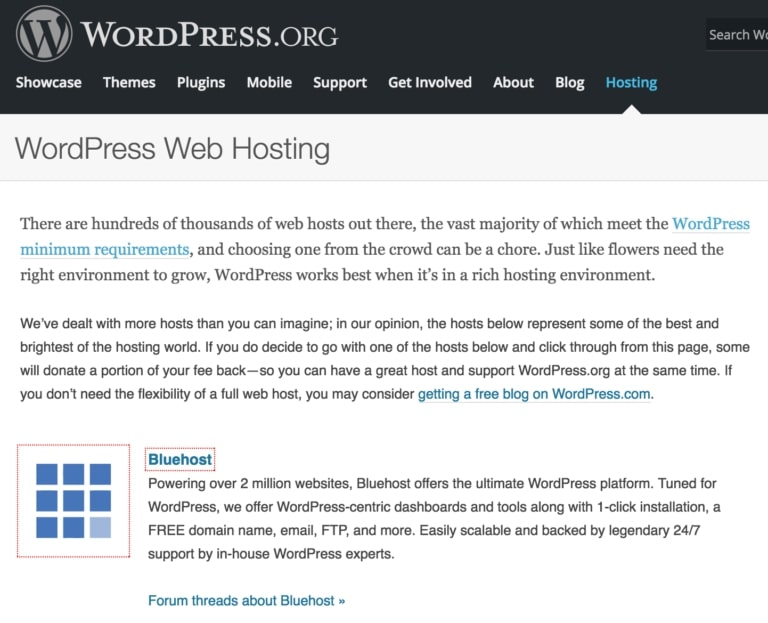 WP.org recommends Bluehost