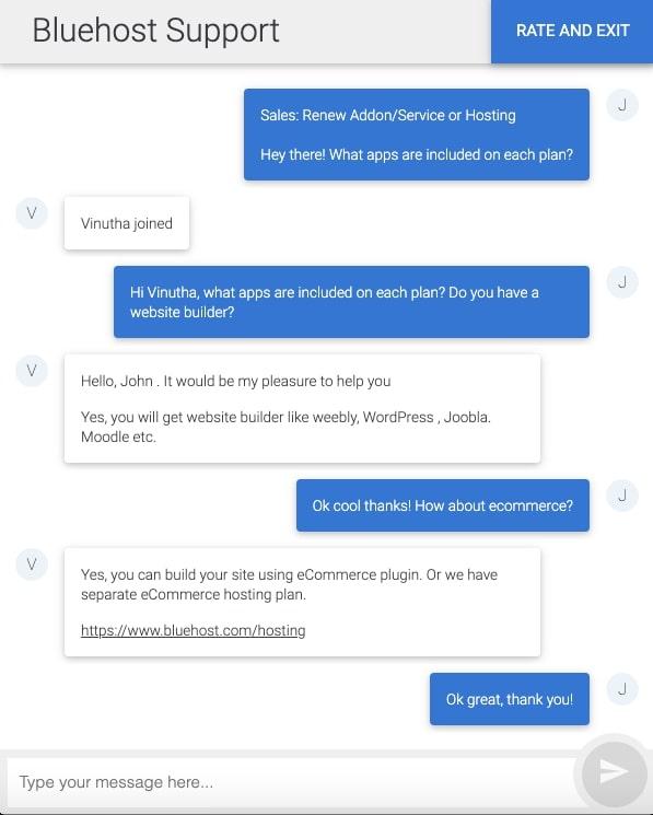 Chat live del servizio clienti Bluehost