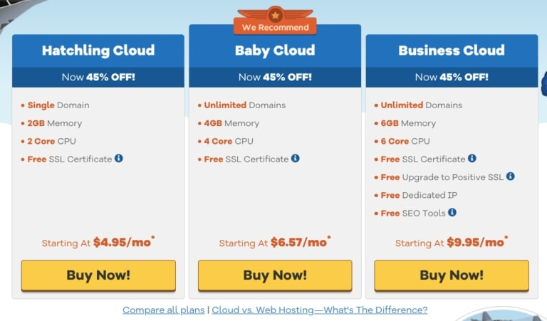 HostGator Cloud Plans and Pricing