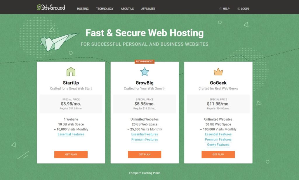 Hosting Specification Siteground