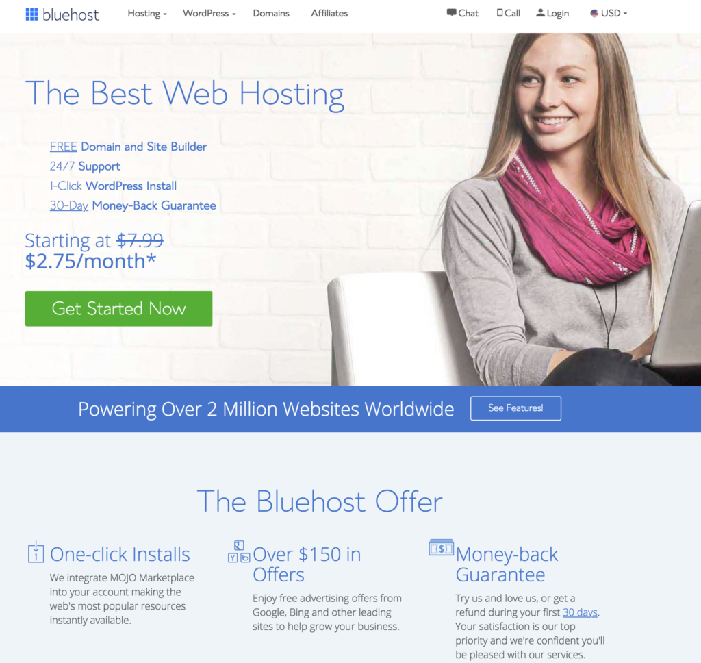 Bluehost's homepage