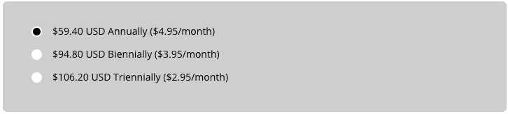 HostMetro's pricing gets cheaper for the longer term you purchase.