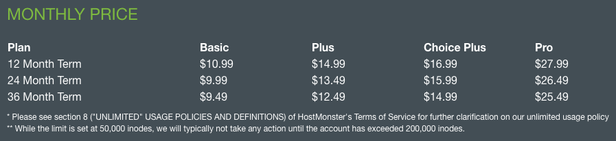 HostMonster renewal pricing doubles after the first term.