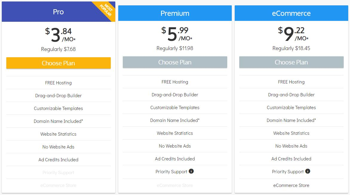 SiteBuilder pricing and plans