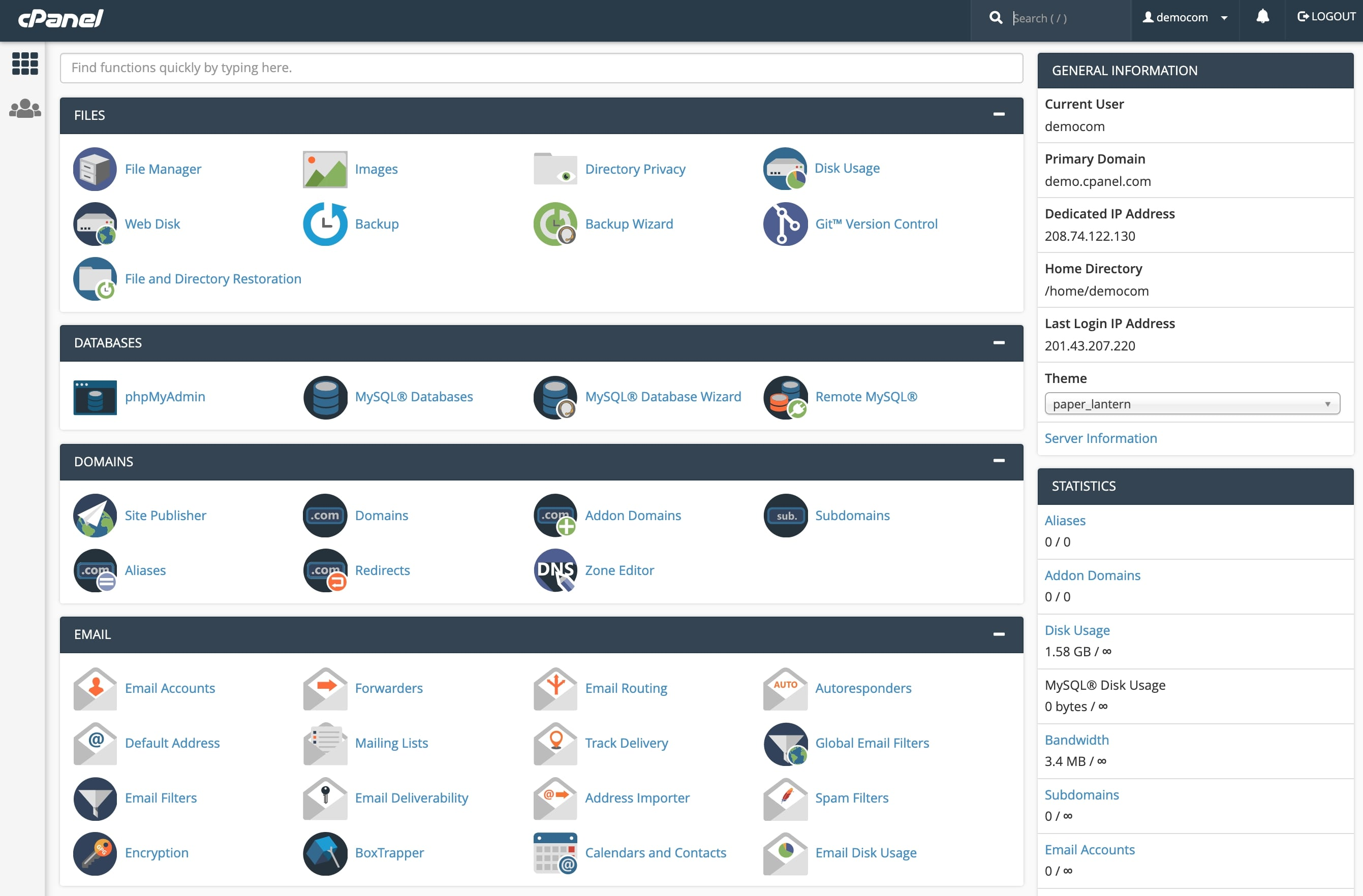 cPanel vs Plesk: cPanel dashboard