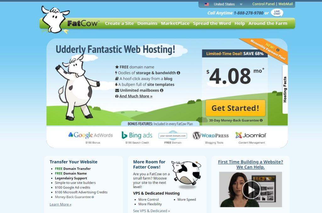 fatcow hosting homepage