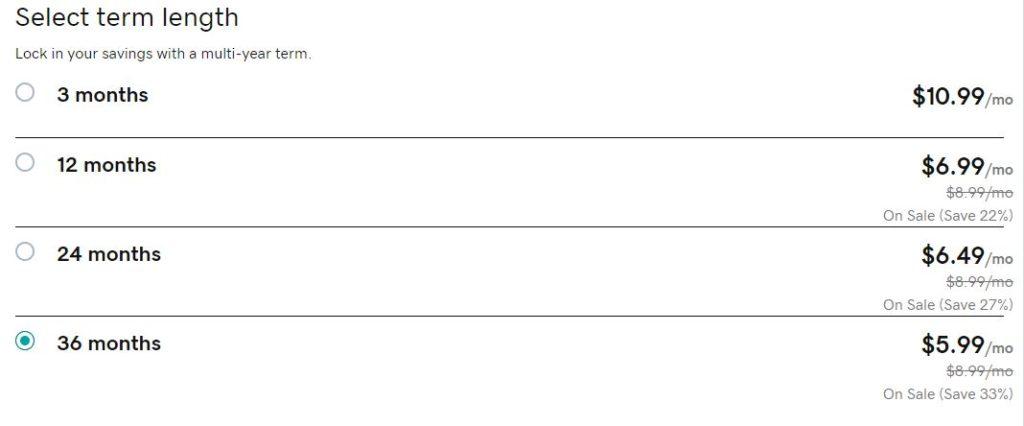 GoDaddy Hosting Term Length Pricing