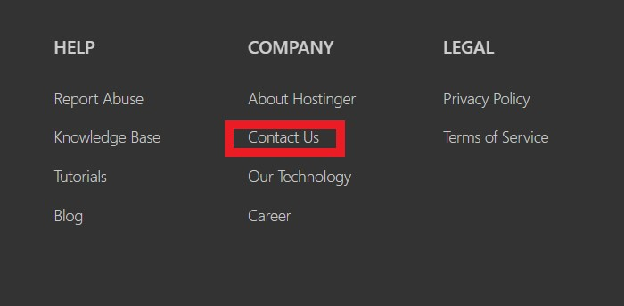 contact us hostinger