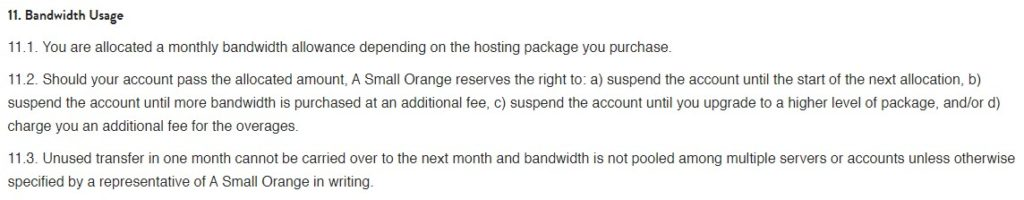 ASmallOrange bandwidth usage terms