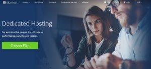 Bluehost dedicated hosting homepage