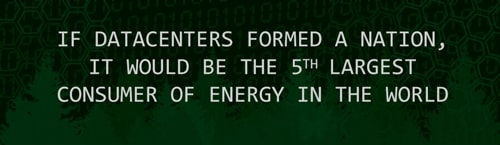 If datacenters formed a nation, they would be the 5th largest consumer of energy in the world.