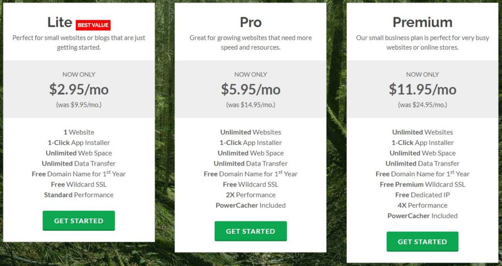 GreenGeeks pricing and plans