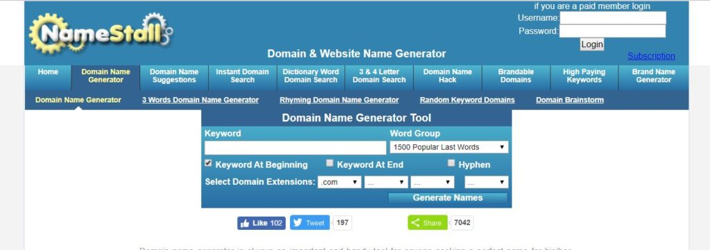 namestall domain name generator