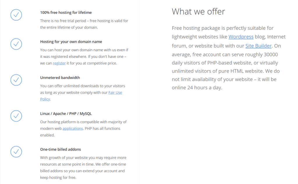 Freehosting features